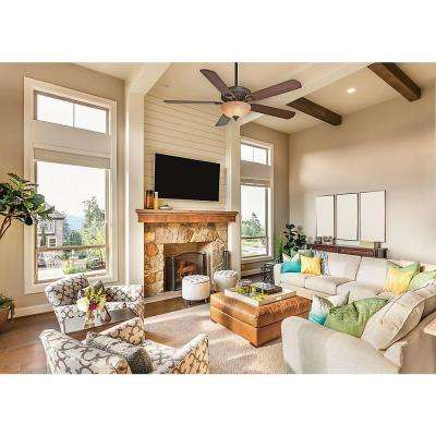 Ainsworth Gallery 60 in. Indoor Onyx Bengal Bronze Ceiling Fan with 4-Speed Wall-Mount Control