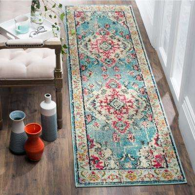 Monaco Light Blue/Fuchsia 2 ft. 2 in. x 18 ft. Runner Rug