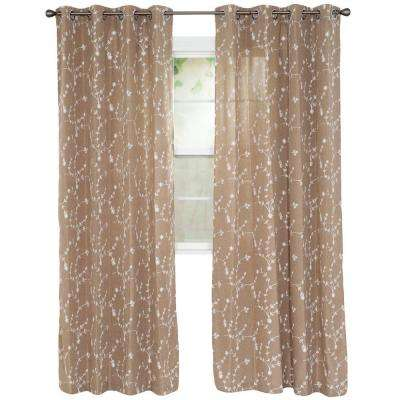 Inas Taupe Polyester Curtain Panel 54 in. W x 84 in. L