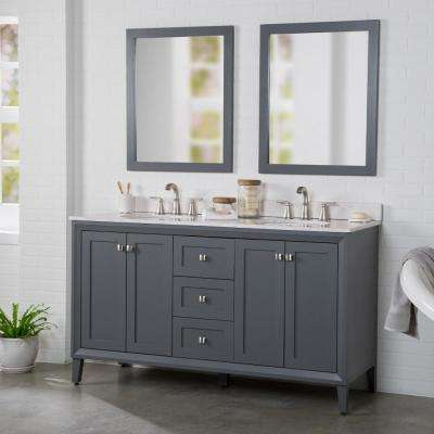 Austell 61 in. W x 38 in. H x 22 in. D Vanity in Graphite Gray w/ Stone Effects Vanity Top in Carrera with White Sink