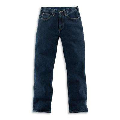 Men's Dark Vintage Blue Cotton Straight Leg Denim Bottoms
