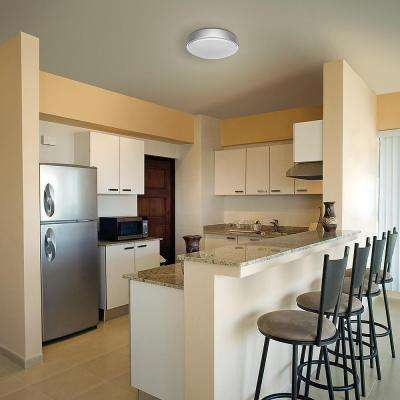 14 in Bluetooth Brushed Nickel Integrated LED Round Flush Mount Dimmable Multi Color Temperature Options 1600 Lumens