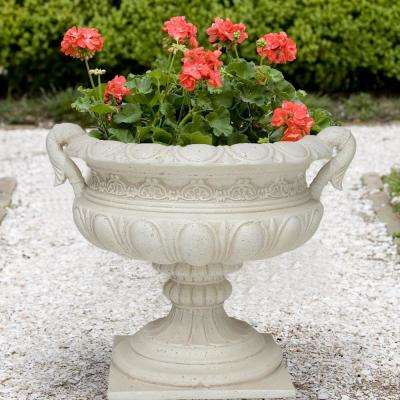 19.25 in. H Aged White Cast Stone Urn with Handles