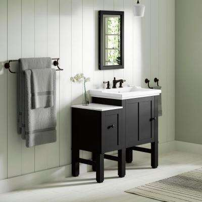Chambly 36 in. W Vanity in Black Forest with Ceramic Vanity Top in White with White Basin