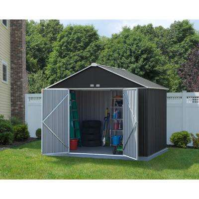 10 ft. W x 8 ft. H x 8 ft. D EZEE Extra-High Galvanized Steel Gable Shed in Charcoal/Cream with Snap-IT Quick Assembly