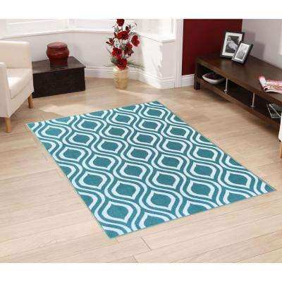 Rose Collection Contemporary Moroccan Trellis Design Ocean Green 5 ft. x 7 ft. Non-Skid Area Rug