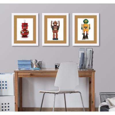 "21 in. x 17 in. ""Toy Robot Arms Up Red"" Framed Giclee Print Wall Art"