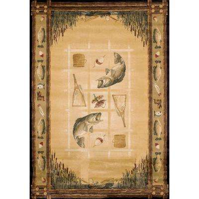 Lakeside Beige 5 ft. 3 in. x 7 ft. 6 in. Contemporary Lodge Area Rug
