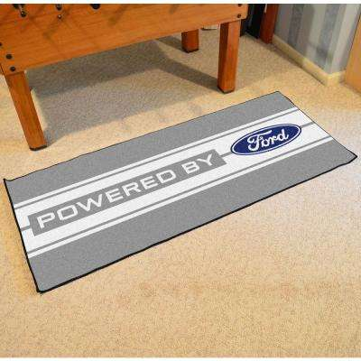 Ford - Ford Oval with Stripes Gray 3 ft. x 6 ft. Indoor Runner Rug
