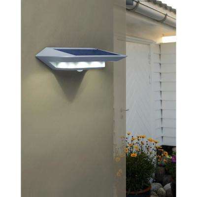 1-Light Silver Motion Activated Outdoor Integrated LED Wall Lantern Sconce