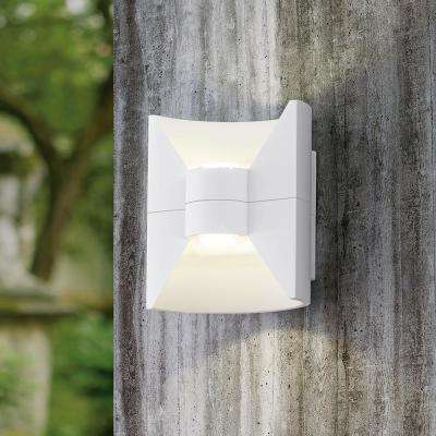 Redondo 2-Light White Outdoor Integrated LED Wall Light