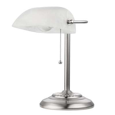 LED for Life 1-Light Brushed Steel & Frosted Glass Shade Banker Lamp