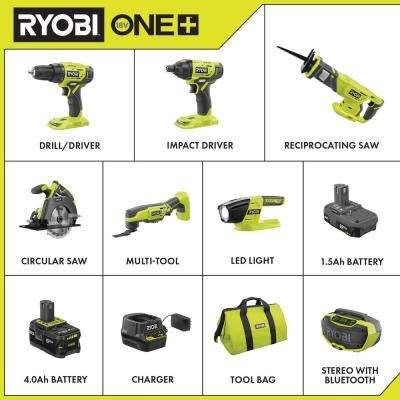 18-Volt ONE+ Cordless 6-Tool Combo Kit with (2) Batteries, 18-Volt Charger, Bag, and Hybrid Stereo