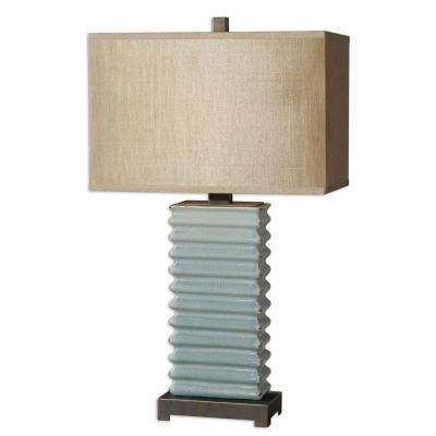 29 in. Crackled Blue Table Lamp