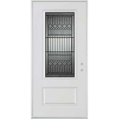 32 in. x 80 in. Lanza Patina 3/4 Lite 1-Panel Painted White Steel Prehung Front Door