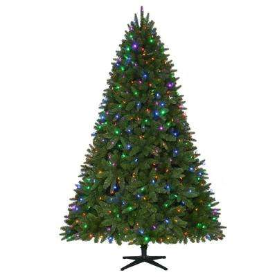 7.5 ft. Pre-Lit LED Sierra Nevada PE/PVC Quick-Set Artificial Christmas Tree with 8 Functions Color Changing Lights