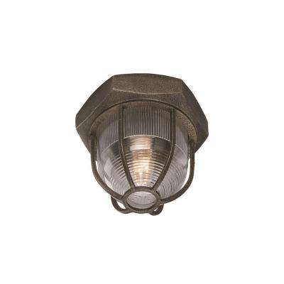 Acme 1-Light Aged Silver Flushmount