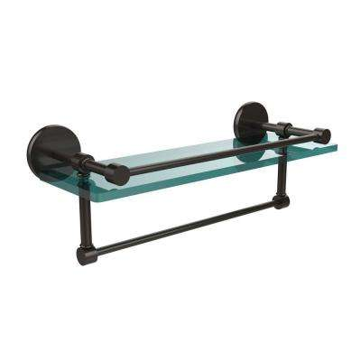 16 in. W Gallery Glass Shelf with Towel Bar in Oil Rubbed Bronze