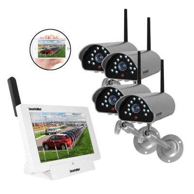 iSecurity 4-Channel 480TVL Digital Wireless Indoor/Outdoor 4 Cameras System Kit with Remote Viewing