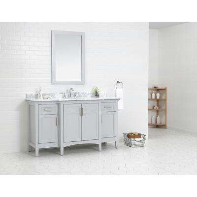Sassy 60 in. W x 22 in. D Vanity in Dove Grey with Marble Vanity Top in White with White Sink