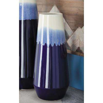16 in. Pear-Shaped Blue and White Gradients Ceramic Decorative Vase