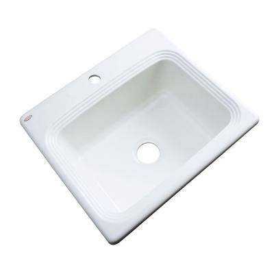 Rochester Drop-In Acrylic 25 in. 1-Hole Single Basin Kitchen Sink in White