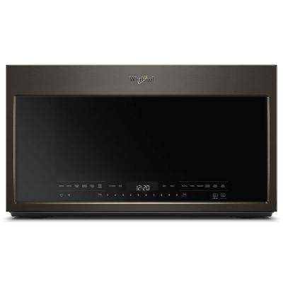 30 in W 2.1 cu. ft. Over the Range Microwave in Black Stainless with Steam Cooking