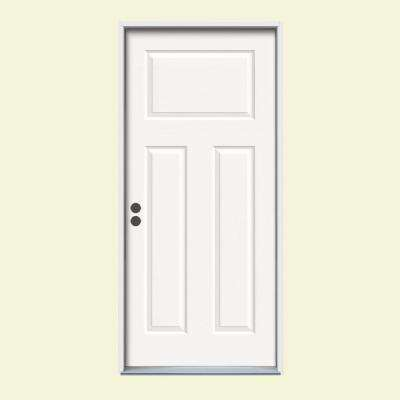 36 in. x 80 in. Craftsman 3-Panel Painted Premium Steel Prehung Front Door with Brickmould