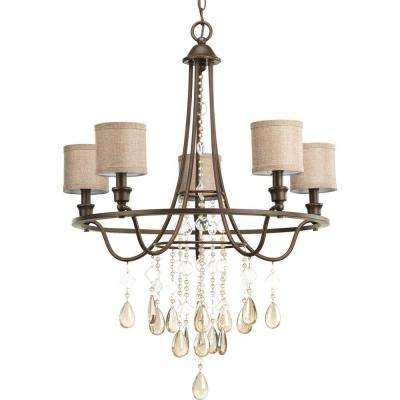 Flourish Collection 5-Light Cognac Chandelier with Shade