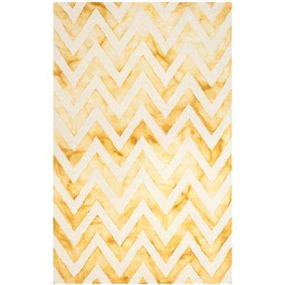 Dip Dye Ivory/Gold 4 ft. x 6 ft. Area Rug
