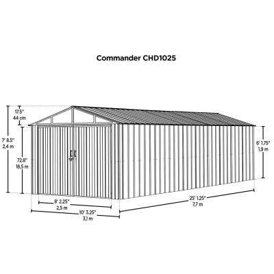 Commander 10 ft. W x 25 ft. D White Hot-Dipped Galvanized Metal Storage Shed