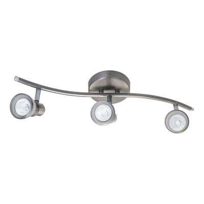 S-Shaped 3-Light Brushed Chrome Halogen Track Light with 3 Frosted Glass Spots