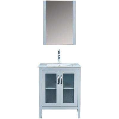 Francia 27.5 in. W x 18 in. D x 35 in. H Vanity in White with Ceramic Vanity Top in White with White Basin and Mir