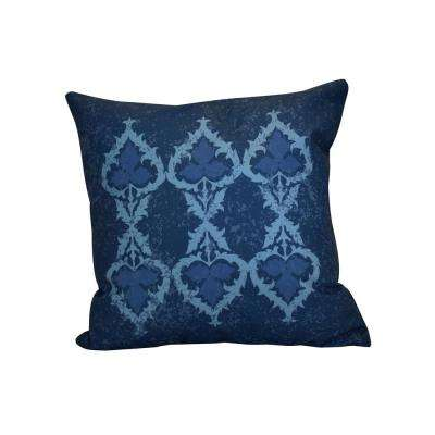 16 in. x 16 in. Ananda, Geometric Print Pillow, Navy Blue