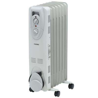 1500-Watt Electric Oil-Filled Radiant Portable Heater - Grey