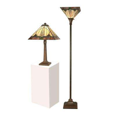 72 in. Stanton Mission Table Lamp with Torchiere Combo Set