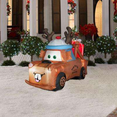 5 ft. Airblown Inflatable Lighted Mater with Reindeer Hat and Present