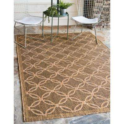 Outdoor Spiral Light Brown 7' 0 x 10' 0 Area Rug