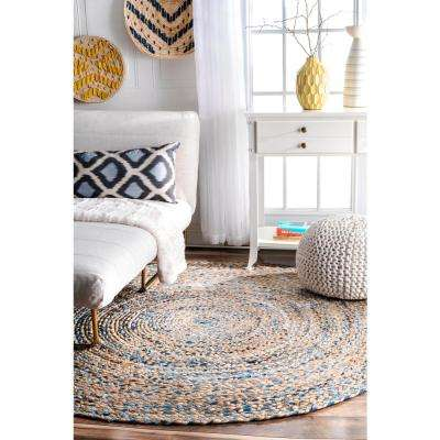 Eliz Striped Farmhouse Jute Blue 6' Round Rug