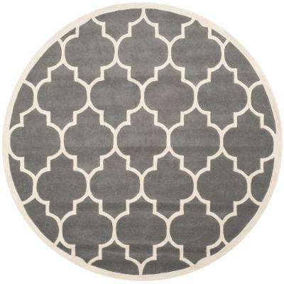 Chatham Dark Gray/Ivory 8 ft. 9 in. x 8 ft. 9 in. Round Area Rug