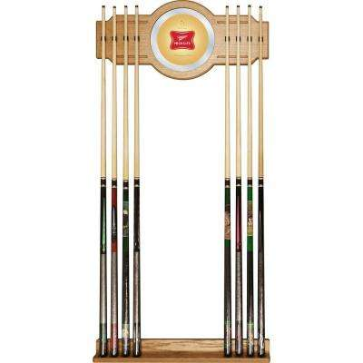 Miller High Life 30 in. Wooden Billiard Cue Rack with Mirror
