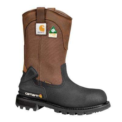 Puncture Resistant Men's Brown Leather Waterproof Insulated Steel Safety Toe Work Boot