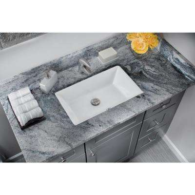 Rectangular Glazed Ceramic Undermount Bathroom Vanity Sink in White