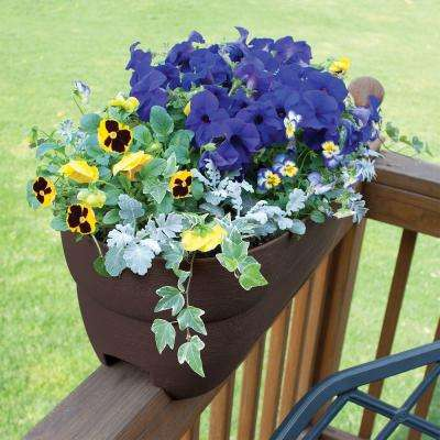 Bloomers Series 24 in. W x 12 in. H Brown Resin Deck and Porch Rail Planter