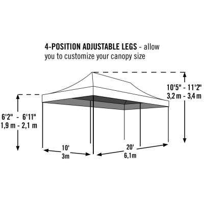 10 ft. W x 20 ft. H Pro Series Straight-Leg Pop-Up Canopy in Checkered Flag with Corrosion-Resistant Steel Frame
