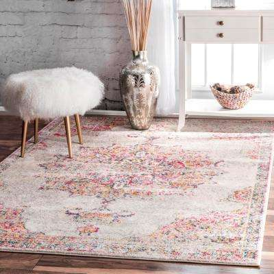 Sunny Wildflower Medallion Pink 7 ft. x 9 ft. Area Rug