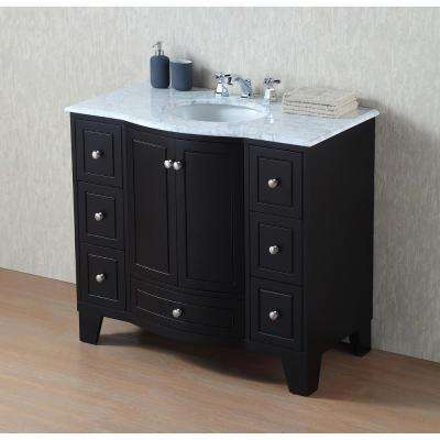 Grand Cheswick 40 in. Vanity in Espresso with Marble Vanity Top in Carrara with White Undermount Sink
