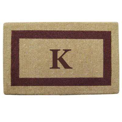 Single Picture Frame Brown 22 in. x 36 in. HeavyDuty Coir Monogrammed K Door Mat