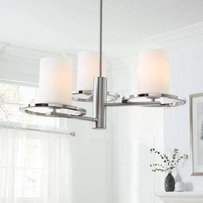 3-Light Polished Nickel and Brushed Nickel Chandelier with Etched Opal Cylinder Glass Shades