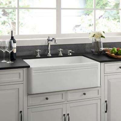 Delice Farmhouse Ceramic 30 in. x 18 in. Single Bowl Kitchen Sink in White